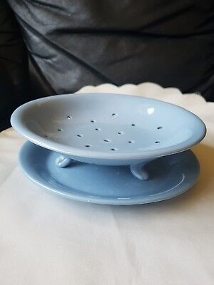 Vintage Blue Salad Strainer Bowl And Under Plate