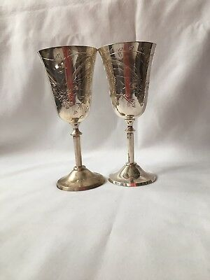 Pair Silver Plated Engraved Wine Goblets H- 18cm