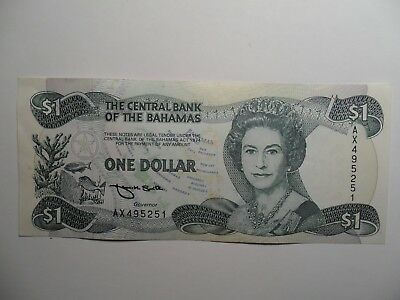"""Nice 1974 $1 Bank Note From """"the Central Bank Of The Bahamas""""-Sn# Ax495251!!"""