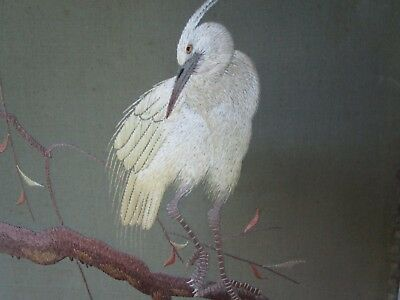 Antique Chinese Embroidered Crane Egret Bird on old silk w issues 31cm x 24cm