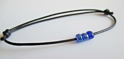 Black Waxed Cotton Cord Friendship//Surfer Bracelet with Glass Beads