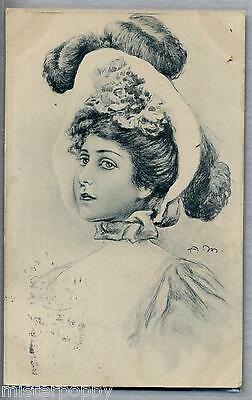 Vienne style Signed A. M. Glamour Girl Hat PC Viaggiata 1902 Rare early card!