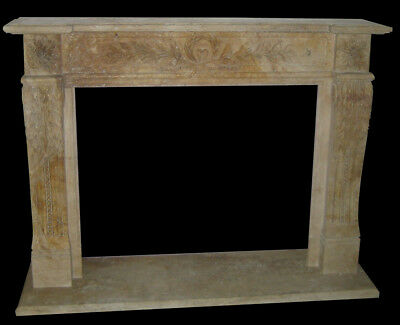Grande Camino In Travertino Caminetto Luigi Xvi Marble Travertine Fireplace