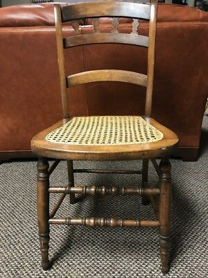 Vintage Antique OAK Wood Wood Cane Seat Ladder back Chair