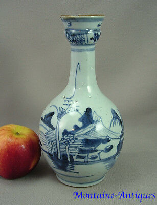 Chinese Export Canton Blue  Porcelain Water Bottle 19th cent