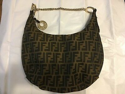 769d4fee486d FENDI TOBACCO ZUCCA Canvas Chef Chain Hobo Bag -  385.00