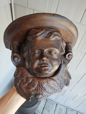 Antique French Hand Carved Wood Winged Angel/Cherub Console Shelf Support