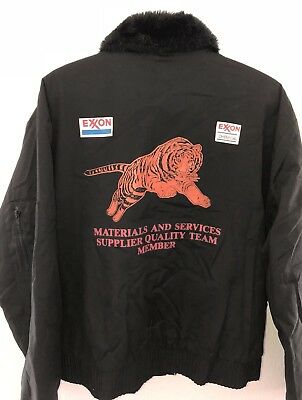 Vintage USA EXXON Tiger Insulated Oil Service Gas Station Jacket Sz Large #2657