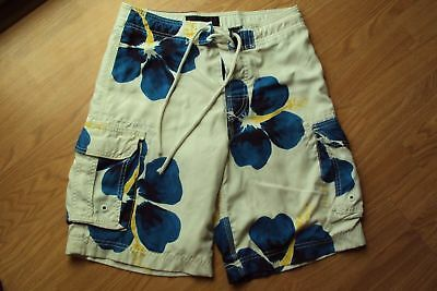 4f339fcd04 Boys Abercrombie Polyester Swim Trunks Bathing Suit White Blue Floral Size  Large