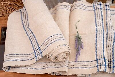 Blue stripes Fabric Antique linen ,Grain Sack from Europe