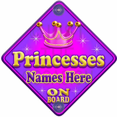 NEW  ALLURE PRINCESSES  Pink Personalised Baby on Board Car Window Sign
