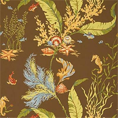 Thibaut Wallpaper Double Roll Poll Brown T2501 Laguna Collection Underwater Fish