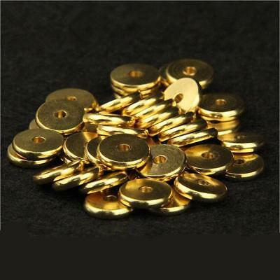 Flat Round Beads Spacer Ring Metal Charm Brass Diy Crafts Jewelry Bracelet 50pcs