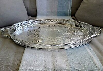 SILVER PLATED Vintage Large Tea Drinks Serving Gallery Tray Oval Chased Handles
