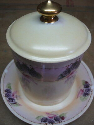 Jam jar with saucer and cover antique GOA France beautiful colors