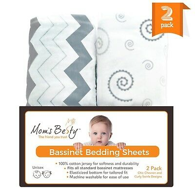 Bassinet Sheet Set - 2 Pack Jersey Cotton Fitted Sheets - Grey/White Unisex Baby