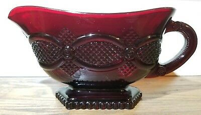 Vintage Avon 1876 Cape Cod Collection Ruby Red Glass Sauce Gravy Boat