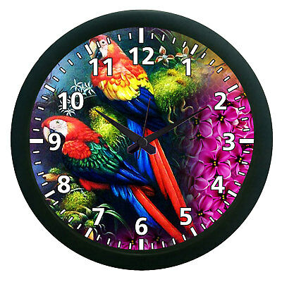 Parrots Pair Modern Analogue DIY Large Wall Clock 3D Surface Sticker Home Decor