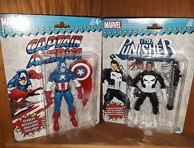 HASBRO Marvel Legends Vintage CAPTAIN AMERICA/ PUNISHER Action Figure 6""