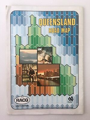 1990 Queensland Road Map RACQ Eigth Edition