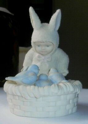 Department 56 Snowbunny Snowbaby Bunny With Blue Birds on Nest Very Cute