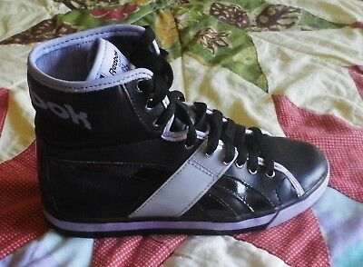 1b8222849a7 Size 2.5 Reebok Classic Purple Black Leather High Tops Youth 80s Style