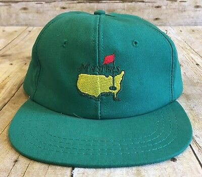 Vintage Masters Augusta Green Derby Golf Hat Cap Leather Strap (Strapback) 7fc300f50e27