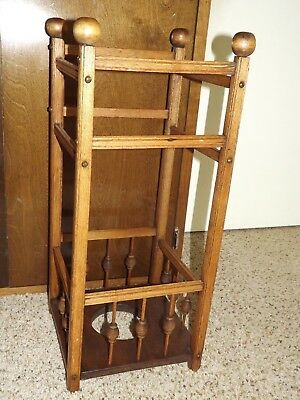 Vintage Original Oak Wood Umbrella Walking Stick Cane Stand Hall Entryway Rack