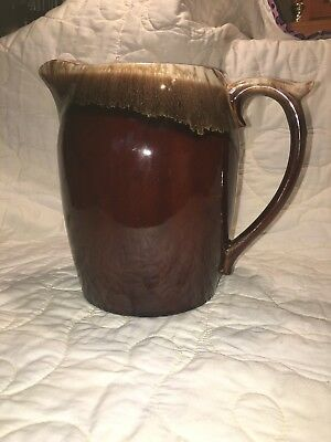 VINTAGE Large McCoy USA 7007 Drip Brown Pottery Pitcher 80 oz