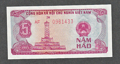 UNCIRCULATED SOCIALIST REPUBLIC OF VIET NAM STATE BANK 5 HAO NOTE #89a 1985