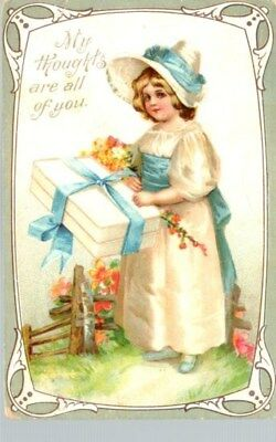 Vintage Valentine postcard early 20th C. My Thoughts Are All of You