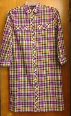 1204fe5027 THEORY DINORAH PLAID Shirt Dress 2 EUC Purple Yellow - $17.99 | PicClick
