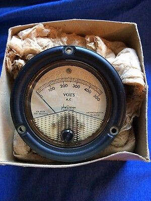 New Vintage Phastron AC Volts Meter 0-500 VAC Ruggedized Gauge MR36W500ARVVR