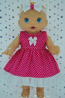 "Play n Wear Doll Clothes To Fit 13"" Baby Alive HOT PINK POLKA DOT DRESS~HEADBAND"