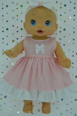 "Play n Wear Doll Clothes To Fit 13"" Baby Alive PINK POLKA DOT DRESS~HEADBAND"