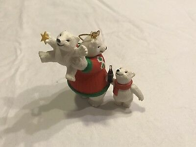 Coca Cola Polar Bear Family at Play Coke Ornament Cubs Exclusive Cavanagh Enesco
