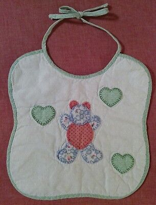 **VINTAGE RETRO** White Quilted Appliqued Teddy Bear with Hearts Baby Bib
