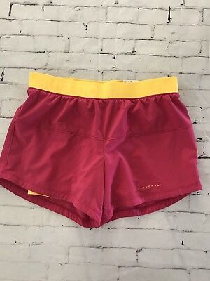 Nike Dri-Fit Women's Shorts Small Pink Yellow Liner Running Athletic workout