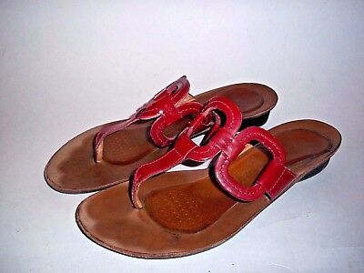 02d1a34424cf Paul Green Red Leather thong Sandals Women size 5.5 M Flip Flop 4313 Gel  Cushion