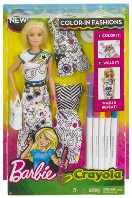 NEW Barbie Crayola Colour-In-Fashion Doll & Fashions from Mr Toys