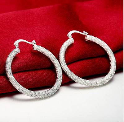 Women 925 Sterling Silver Plated Round Vogue Mesh Band Hoop Fashion Earrings