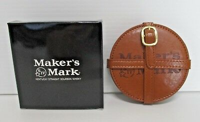 Makers Mark Bourbon brand new boxed set of 4 leather look drink bar coaster mats