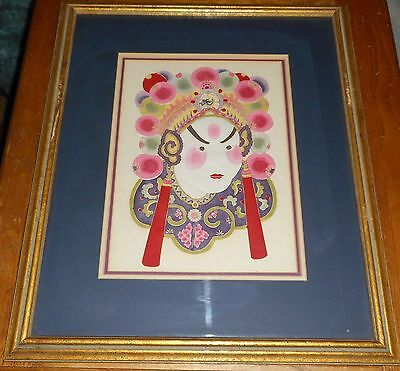 Vintage Chinese Original Painting on Hand Cut Paper Framed
