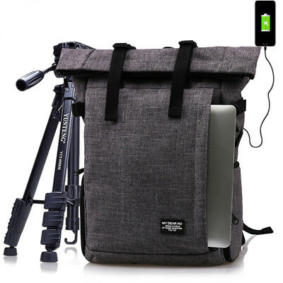 DSLR Camera Shoulders Backpack Soft Padded Bag fit 16inch Laptop Case & USB Port