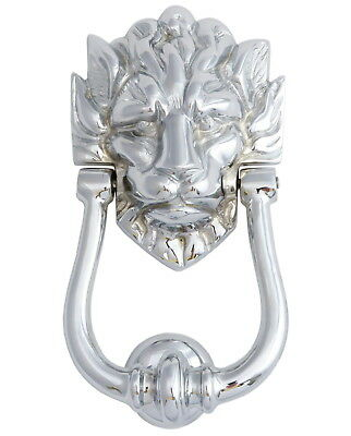 "Chrome Lion's Head Door Knocker (9""/23cm) Number 10 Downing Street Door Knockers"