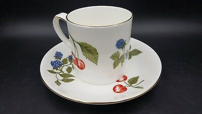 Crown Staffordshire Hampton Berries Flat Cup and Saucer Gold Trim