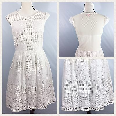 Betsey Johnson Womens Dress White Lace Cap Sleeves Fit And