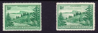 1947 NORFOLK ISLAND BALL BAY- 1½d Emerald green on highly tinted green paper MUH