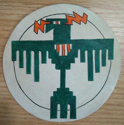 """34th Attack Bomb Squadron USAF Patch Bombardment Squad 5"""" Leather Hand Painted"""