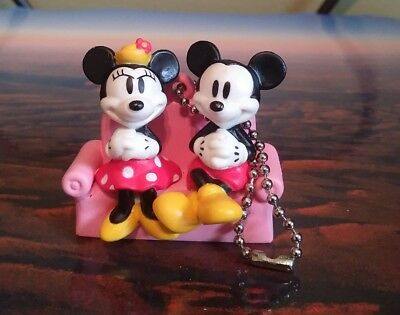 Disney Mickey Mouse and Minnie Mouse Keychain Sega Japan